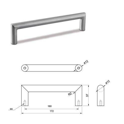 SMALL DOOR PULL HANDLE Stainless Steel C Bar Straight Bolt Fixing 160mm Pack of 20