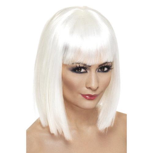 Smiffys Female Glamour Wig - White -  wig short fancy dress glam white ladies blunt accessory womens bob fringe costume straight
