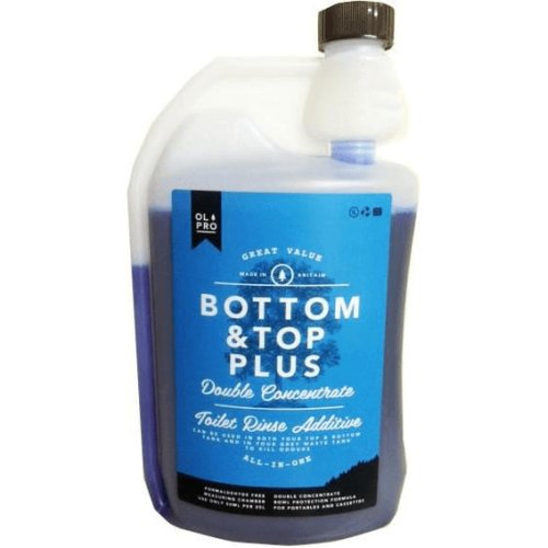 OLPRO Bottom & Top PLUS Caravan & Camping Toilet Fluid & Rinse in One (1 Litre Concentrate) Twin Pack