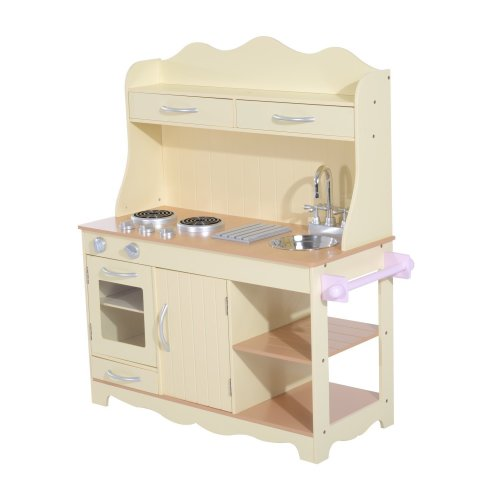 c78da752a61e Homcom Children's Role Play Kitchen | Large Wooden Cooker Play Set on OnBuy