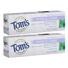 Toms of Maine Whole Care with Fluoride Natural Toothpaste, Peppermint 4.7 oz (Pack of 2)