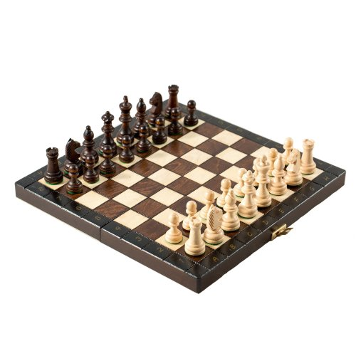 "Prime Chess Tournament 65 Hand Crafted Wooden Chess Set Folding Board 12"" 30cm x 30cm"