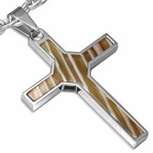Urban Male Stainless Steel Cross Style Pendant With Brown Resin Inlay