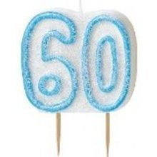 Age 60 Birthday Candle Blue Glitz