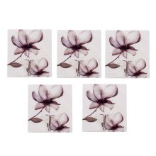 5 PCS Delicate Ink Flower  Hook Seamless Adhesive Hook, Gray