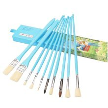 10pcs Professional Paint Brushes Artist for Watercolor Oil Acrylic Painting [C]