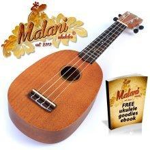 Malani Pineapple Ukulele: Mahogany Soprano Ukelele Uke in Natural Mahogany