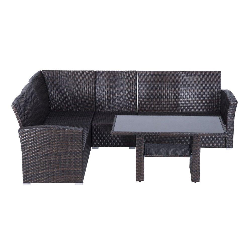 Outsunny 5pcs Rattan Garden Furniture Sofa Set Patio Outdoor Wicker Dining Ch