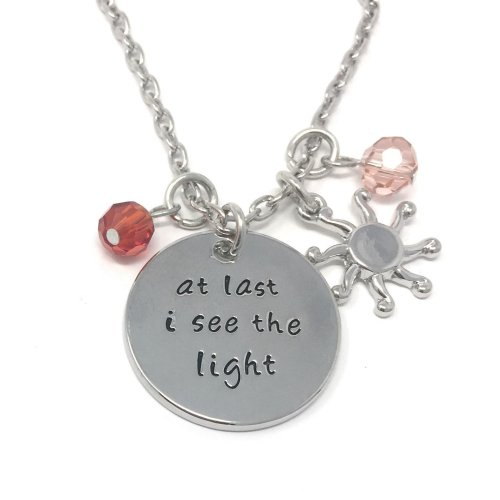 Silver-Tone 'At Last I See The Light' Engraved Pendant Necklace 2.5cm Diamater With 18 Inch Chain Tangled Rapunzel Love