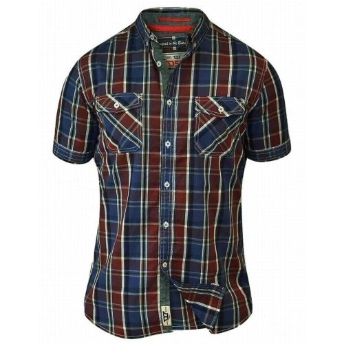 D555 Men's Elias Regular Short Sleeve Check Shirt