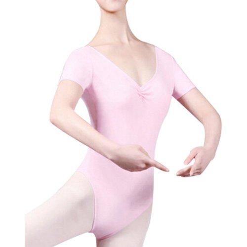 [PINK]Short Sleeve Plain Women Ballet/Dance/Gymnastics Leotards, Size L