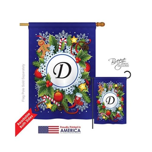 Breeze Decor 30082 Winter D Monogram 2-Sided Vertical Impression House Flag - 28 x 40 in.