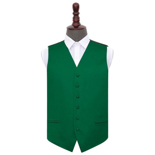Emerald Green Plain Satin Wedding Waistcoat 42'