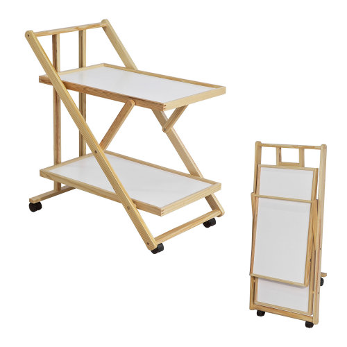 SoBuy® FKW52-WN, Foldable 2 Shelves Kitchen Serving Trolley on Wheels