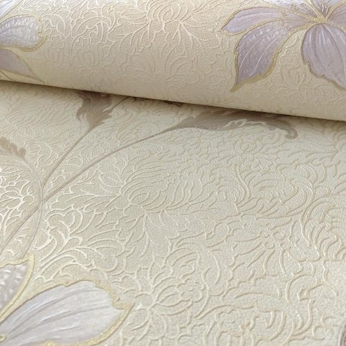Holden Flower Pattern Wallpaper Floral Damask Motif Glitter Italian Vinyl Roll[HEATHER CREAM 35300]