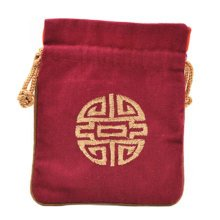 5PCS Handcraft Embroidery Purse Pouch Mini Drawstring Bag Pocket, Wine