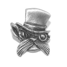 Small Steampunk Cat and hat Pewter Pin Badge / Brooch