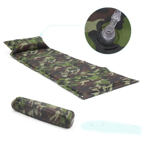 Single Self-Inflating Camping Mat Inflatable Air Mattress Sleeping Pad With Pillow