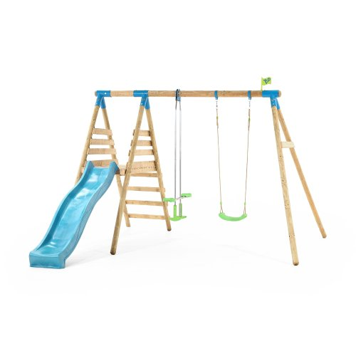 TP Toys Alaska Wooden Double Swing Set and 8FT Slide With Climb Up Deck Ages 3 Years+ Colour Green and Blue