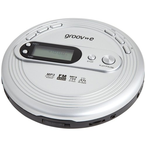 Groov-e Personal MP3 & Radio CD Player with Track Programmable Memory, LCD Display and Earphones Included - Silver