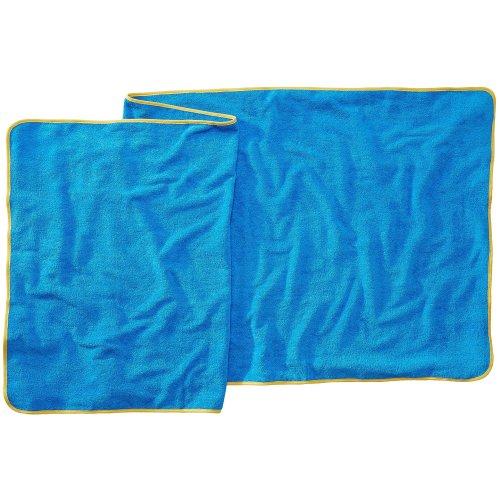 Sowel XXL Beach Towel, Sauna Towel, 100% Cotton, Size 32 x 87 inches, Blue Yellow