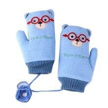 Thicken Double Velvet Kids Gloves Deer Finger Gloves Blue(7-15 Years)