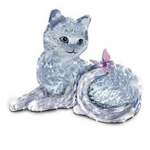 """BRADFORD EXCHANGE SOPHISTICATS """"SMITTEN KITTEN"""" GLASS CAT FIGURINE"""