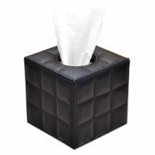 Creative Cute Leather Checks Paper Toilet Paper and Tissue Paper Holder Black