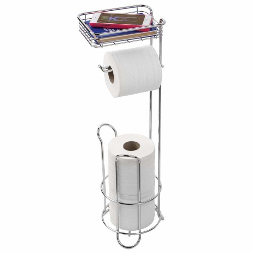8b483ec2791ab2 InterDesign Classico Bathroom Free Standing Toilet Roll Stand Holder Plus  with Shelf, Chrome on OnBuy