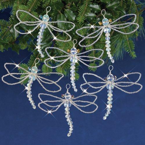 Nostalgic Christmas Beaded Crystal Ornament Kit-Crystal Dragonflies
