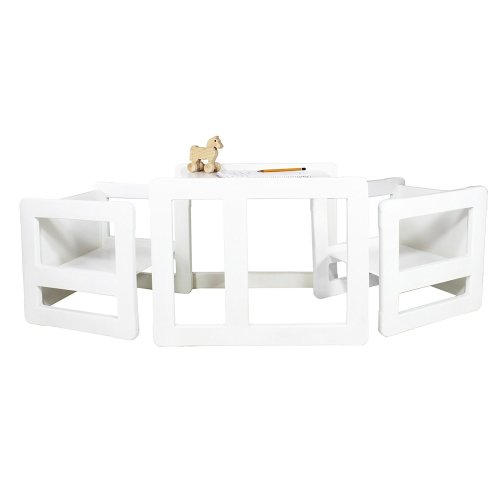 Obique Multifunctional Furniture Set of 3, 2 Chairs & 1 Table, White