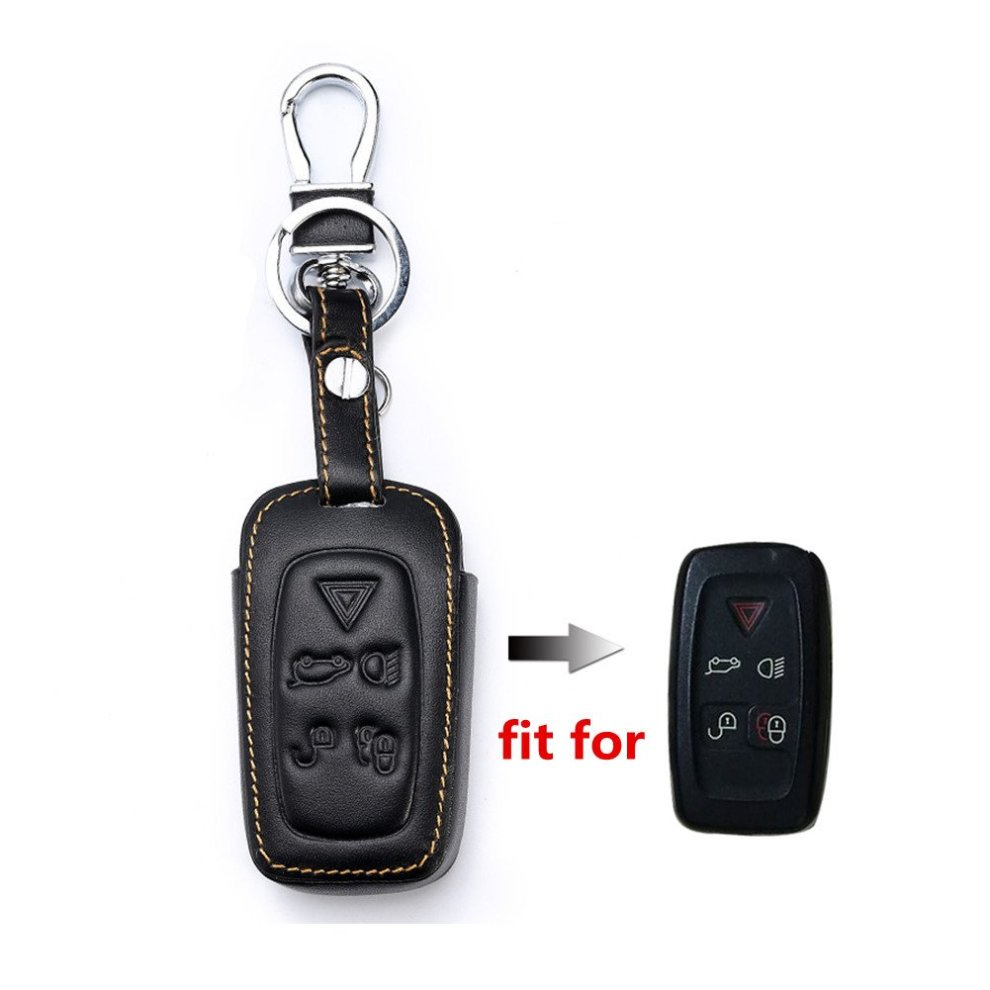 Happyit Leather Car Key Cover Case for Land Rover LR4 LR2 Discovery Range  Rover Sport Evoque 5 Buttons Smart Keys Keychain Accessories