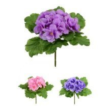 Artificial Silk African Violet Bush - 20cm, All 3 colours