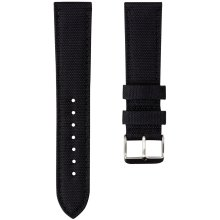 Geckota® Nylon Canvas Fabric Padded Durable Sport Watch Strap, Black, 22mm