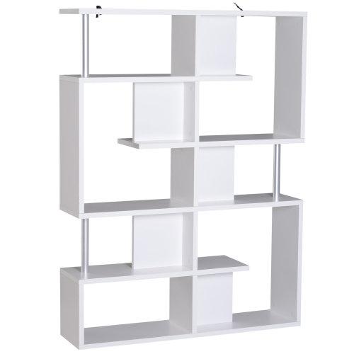 HOMCOM Wood Bookcase 5 Tier Shelves S Shape Bookshelf Free Standing - White