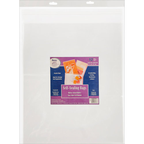 "Darice Self-Sealing Bags 12/Pkg-16.25""X20.25"" Clear"
