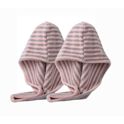 2 Packs Microfiber Hair Drying Towel Quick Dry Hair Turban for Womens, Pink and Grey Stripes