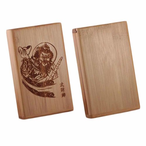 Chinese Cigarette Holder Case Wood Box Handcrafted Wooden Cigarette Case, For 20 Thin Cigarettes Use, the God of Wealth