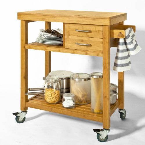 SoBuy® FKW26-N, Bamboo Kitchen Storage Trolley Serving Trolley