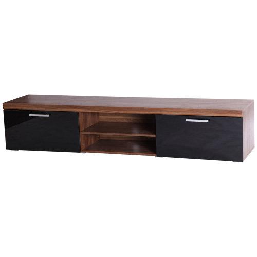 HOMCOM 2 Meter Long Modern TV Cabinet Low Bench Stand Unit 2 High Gloss Doors Shelves (Black & Walnut)