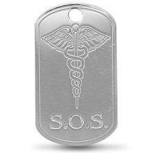 Mens Sterling Silver Engraved Medicial Aware SOS Pendant On A Black Leather Cord Necklace