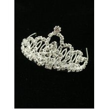 Sterling Silver-Gilt Looped Crystal Wedding Tiara Comb