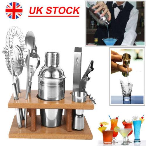 8 X Stainless Steel Cocktail Shaker Maker Mixer Bar Tool Set Kit + Stand Shelf
