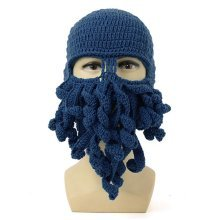 Men Women Winter Warm Octopus Squid Cap Knitted Crochet Wool Ski Face Mask Beanie Hat