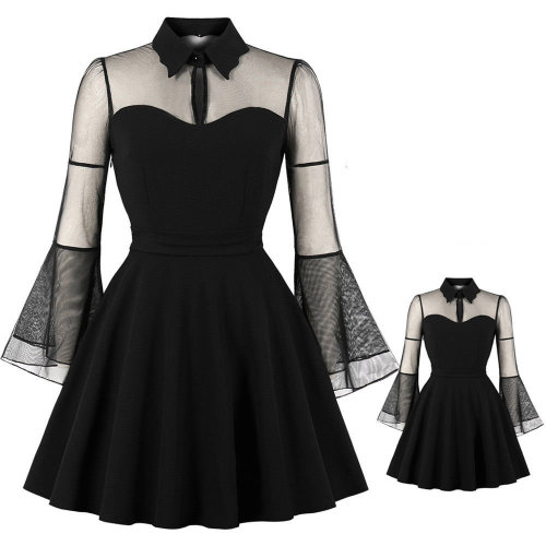 Lace Plain Sheer Long Sleeve Flared Swing Midi Skater Dress Plus ...