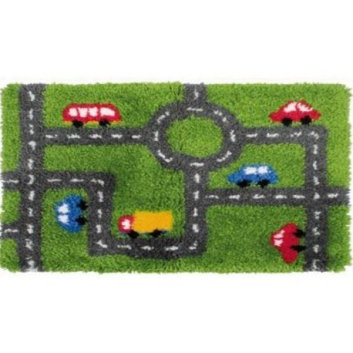 """Latch Hook Rug Kit""""Road and Traffic"""" 90x45cm"""