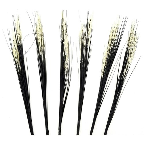 Set of 6 Artificial Flowering 90cm Grass Stem - Black Grass with Cream Flowers