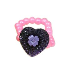 4 Pieces of Purple Heart-Shaped Children-Pretend-Play Jewelry Rings