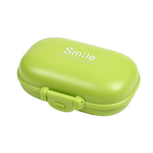 Pocket Pill Organizer Box Case 4 Compartments Medicine Storage Container, Green