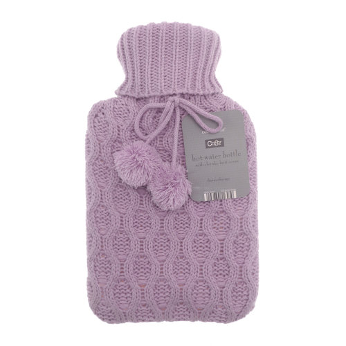Country Club Cable Knit Hot Water Bottle, Lilac